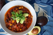 Veggie Chili with Avocado and Cilantro
