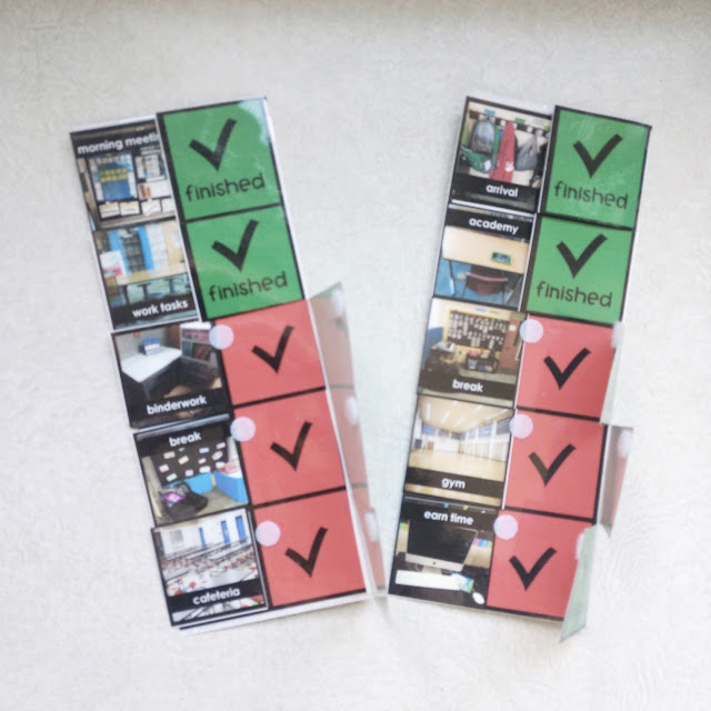 real picture visual schedule that is printed in color and laminated. sides fold over from red check schedule to a green finished checking schedule when checked.