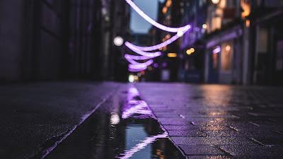 HD Wallpaper City, Street, Puddle, Reflection, Garlands, Lights