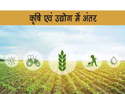 कृषि तथा उद्योग में अन्तर  Difference between agriculture and industry