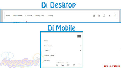 Membuat Menu Navigasi + Sosial Media [CSS,Responsive Dropdown] Di Blogspot
