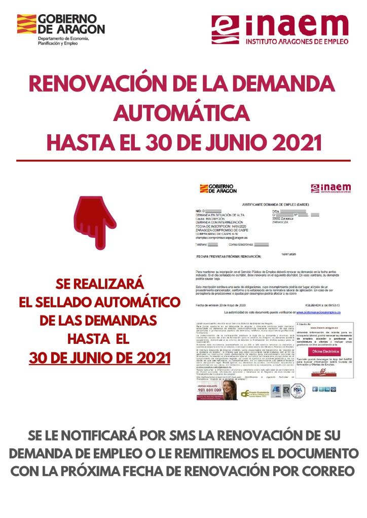 Prorrogada La Renovacion Automatica De La Demanda De Empleo Hasta El 30 De Junio De 2021