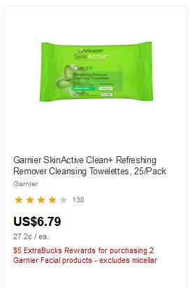 Garnier SkinActive Clean+ Refreshing Remover Cleansing Towelettes, 25/Pack