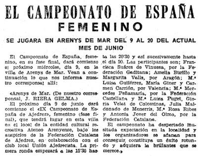 Presentación del IX Campeonato de España Femenino 1965