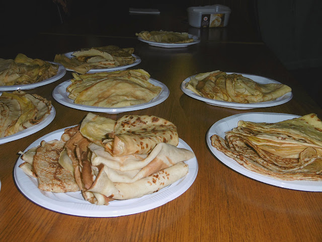 Plated crepes at a community event.  Indre et Loire, France. Photographed by Susan Walter. Tour the Loire Valley with a classic car and a private guide.