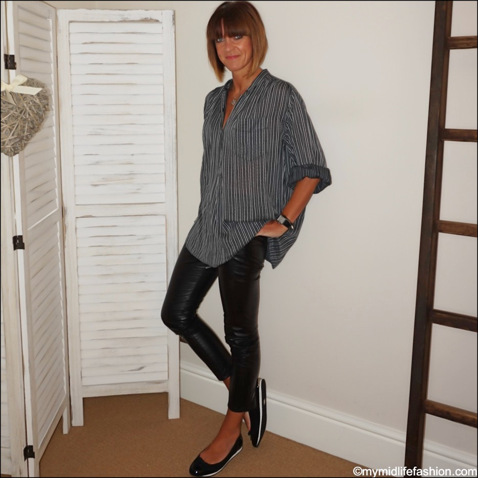 my midlife fashion, Isabel Marant Etoile oversized stripe shirt, Isabel Marant Etoile faux leather leggings, sloafer Alicia shoes