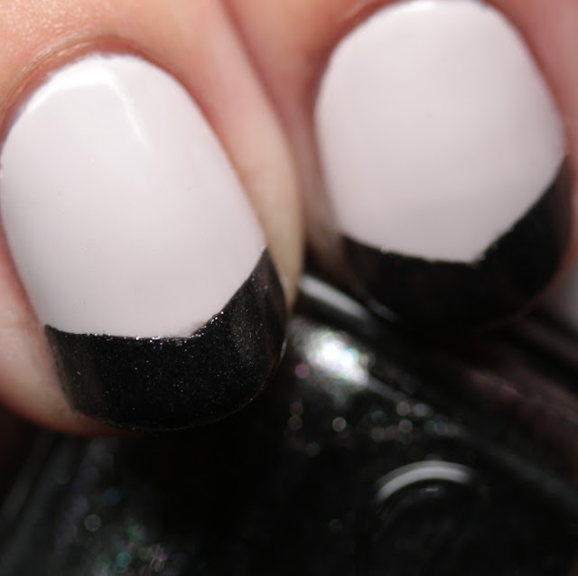 Essie Between the Seats and Tribal Text-Styles Art Deco French manicure