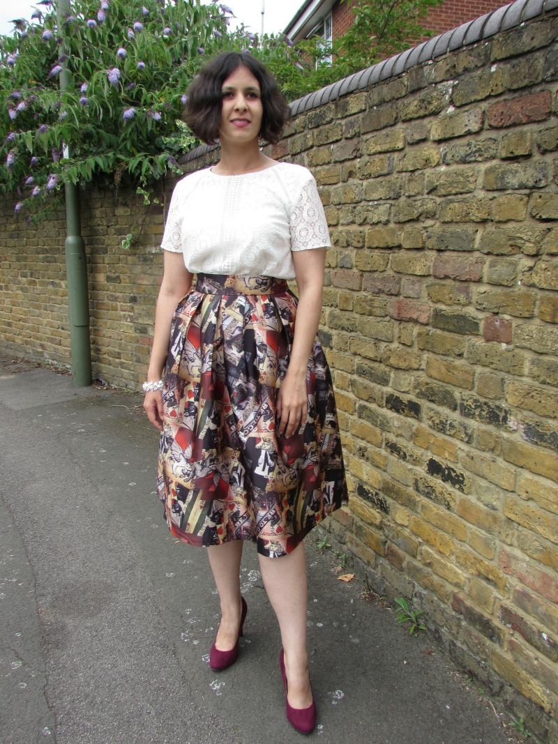 Full midi printed skirt