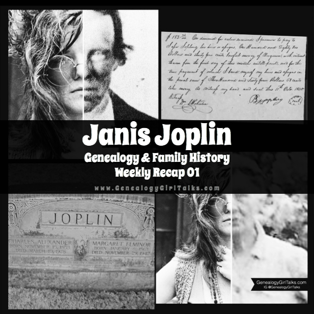 Janis Joplin Genealogy & Family History weekly recap 01. Read more about Janis' Genealogy & Family History!
