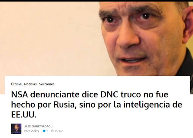 Resultado de imagen de Denunciante de la NSA dice que el hackeo de la DNC no fue hecho por Rusia, sino por la Inteligencia de EEUU