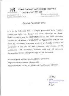 ITI Apprentices and Job roll Campus Placement Drive At Govt ITI Narwana ( Jind ), Haryana For Company Amber Enterprises India Ltd