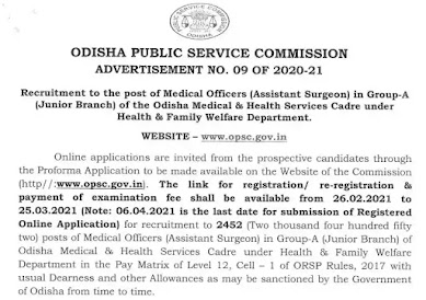 2452 Vacancy Of Medical Officers Assistant Surgeon in Odisha