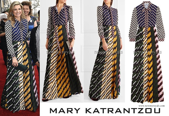 Queen Maxima wore MARY KATRANTZOU Duritz pussy bow printed crepe de chine maxi dress