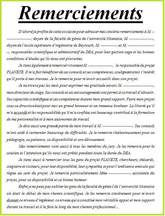 4 Exemples De Remerciement Rapport De Stage Doc Cours