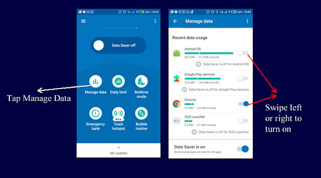 Turn on/off data saver for apps