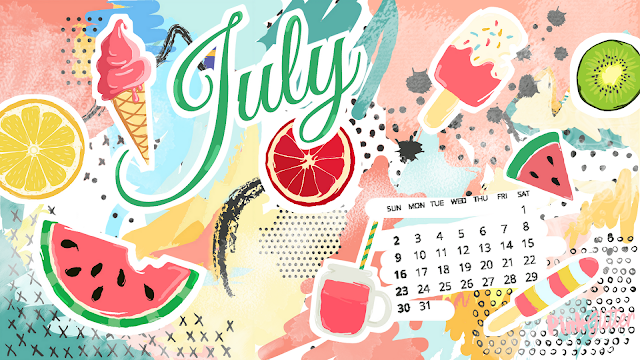Fond d'écran ordinateur calendrier gratuit july heat day ice cream watermelon