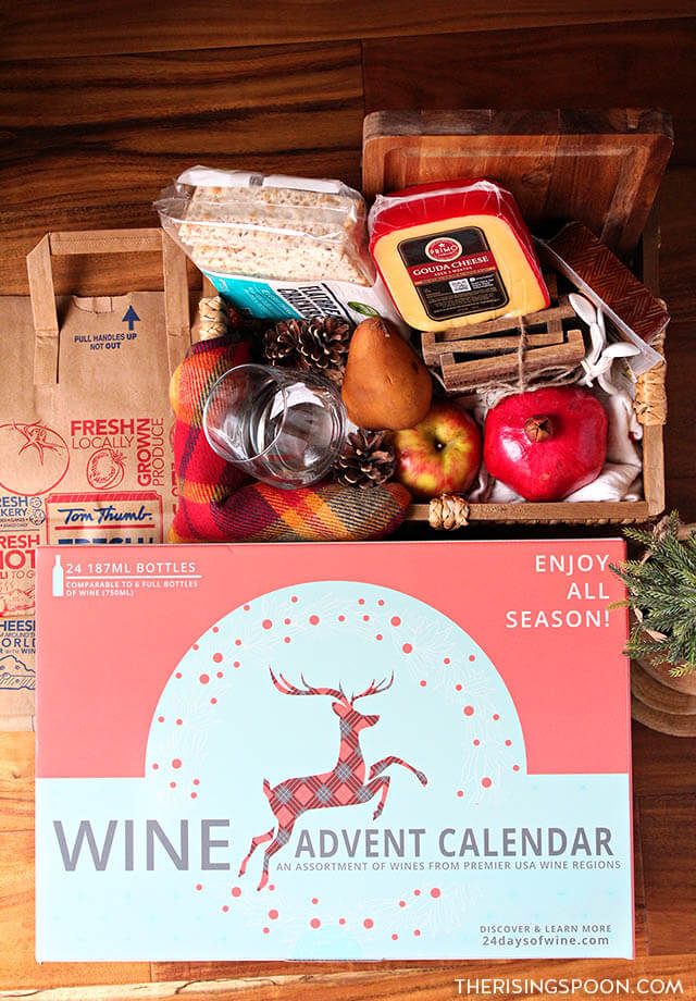 DIY Wine & Cheese Gift Basket with a Wine Advent Calendar