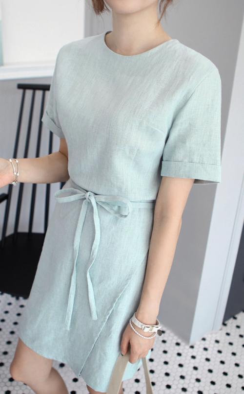 Self-Tie Waist Ribbon Dress