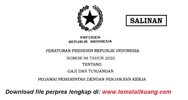 peraturan presiden perepres nomor 98 tahun 2020 tentang gaji dan tunjangan pegawai pemerintah dengan perjanjian kerja pppk p3k pdf tomatalikuang.com