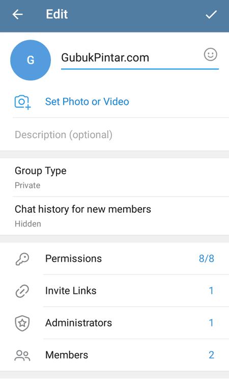 mengatur grup Telegram