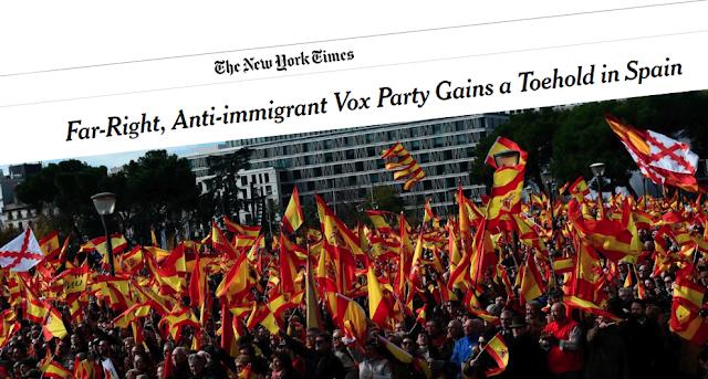 """The New York Times: """"Vox predica valores conservadores incrustados en la monarquía y el catolicismo"""""""