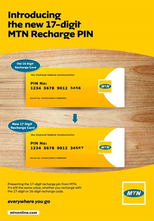 MTN's Recharge Card Pins Is Now 17 Digits In Number   But