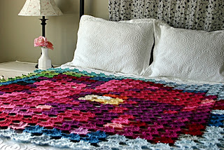 Pointillism Posie Blanket Crochet Pattern by Susan Carlson of Felted Button