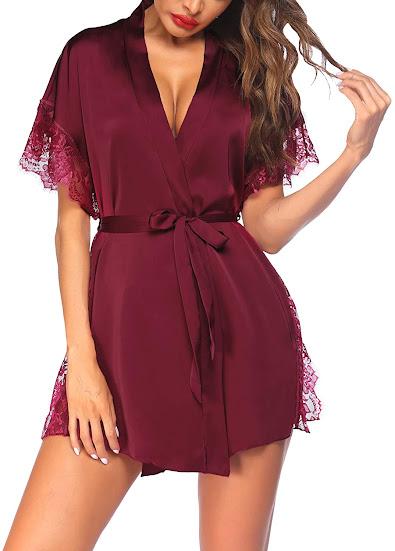 Women's Lace Short Satin Robe