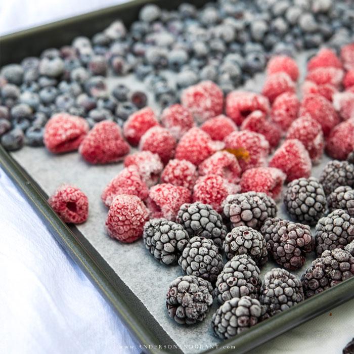 Baking sheet of frozen berries