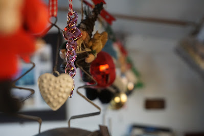 Hanging Christmas decorations of various shapes