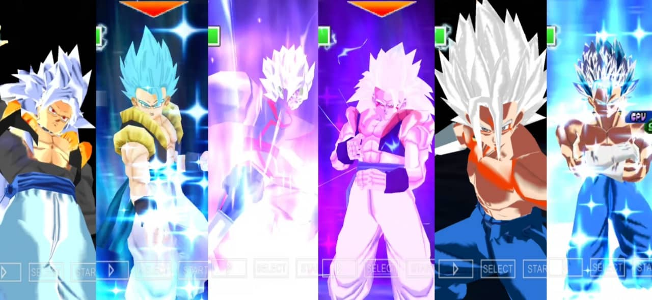 Gogeta and Vegito all Forms Transformations