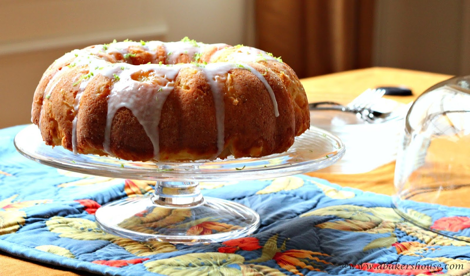 Lime and coconut bundt cake on a tropical tablerunner