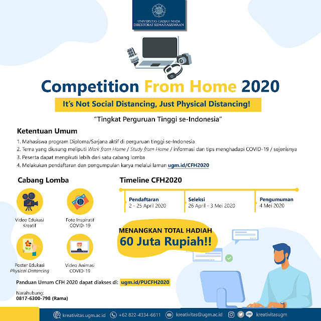 Lomba mahasiswa, lomba nasional, Competition From Home 2020 Tingkat Nasional UGM, jadwal lomba terbaru 2020, lomba foto, lomba tema covid 19, lomba tema corona, lomba poster, lomba video animasi, lomba video edukatif kreatif, info lomba, lomba online, lomba competition mahasiswa, info lomba terbaru.