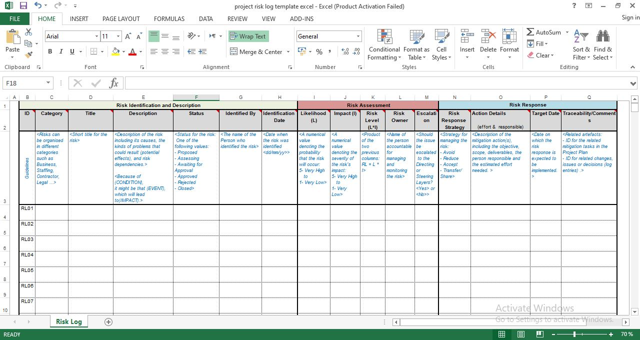 Free Project Risk Log Template in Excel