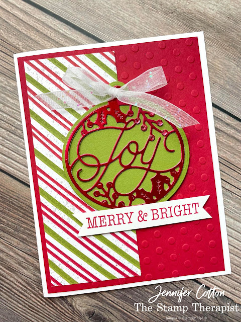 Stampin' Up! Bright Baubles Bundle card.  I also used these papers: Gingerbread & Peppermint DSP and Red & Green Foil.  Also: Red Rhinestones, Checks and Dots embossing folders, and White Glittered Organdy Ribbon.  #StampinUp #StampTherapist #BrightBaubles