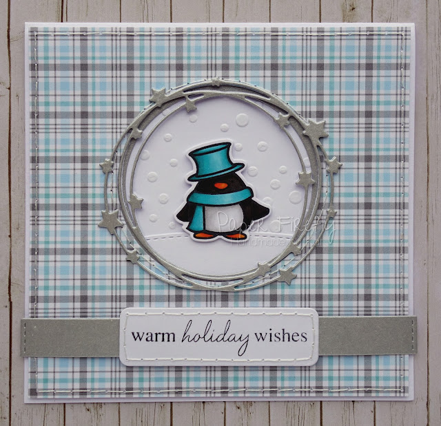 Frosty Christmas card using penguin from Mama Elephant Polar Pals stamp set