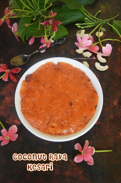 Coconut Rava Kesari Recipe | Thengai Kesari