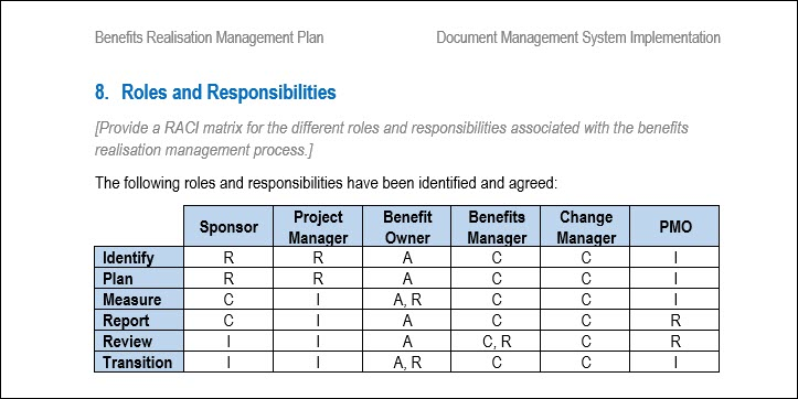 Benefits Realisation Plan Roles and Responsibilities
