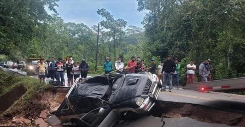 SAN MARTÍN: Lluvias intensas colapsan tramos de carretera Fernando Belaúnde