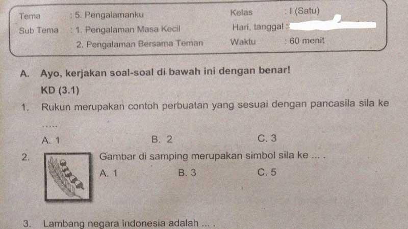 Soal PTS Kelas 1 SD/MI Semester 2 Tema 5 Subtema 1 dan 2