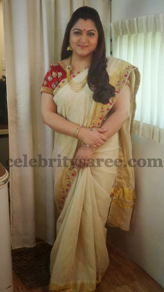 Kushboo Latest Creamish Saree