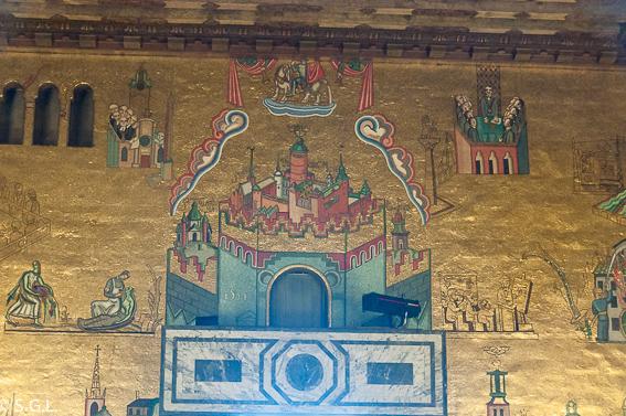 Sala dorada Erik el santo. El ayuntamiento de Estocolmo a orillas del lago Malaren