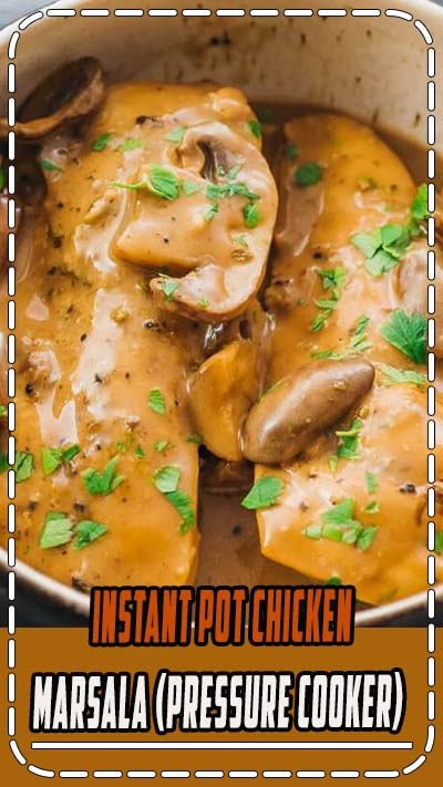 A favorite pressure cooker recipe, this Instant Pot chicken marsala meal is one of those easy italian dinners that's simple and healthy at the same time -- keto, low carb, and gluten free. The sauce is the best with a creamy texture and flavorful taste.  As for what to serve with this dinner main, you can make pasta or something lower in carbs. #instantpot #lowcarb #healthy