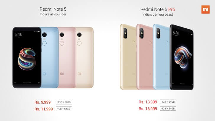 Redmi Note 5 and Redmi Note 5 pro Price In India
