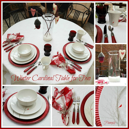 Winter Cardinal Table for Two