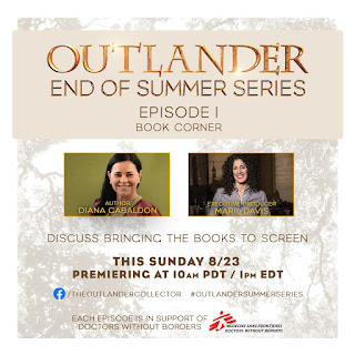 Episode One Book Corner with images of author Diana Gabaldon and Exec producer Maril Davis