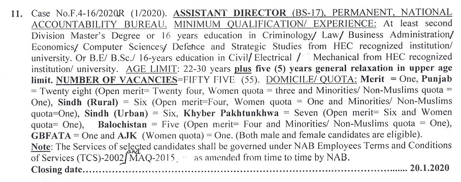 National Accountability Bureau NAB Jobs in FPSC 2020 as Assistant Director (BS-17)
