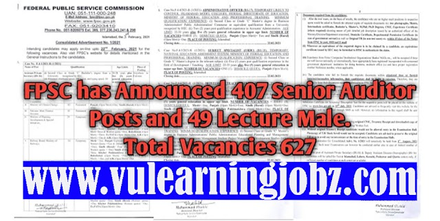 Latest Jobs Federal Public Service Commission Consolidated Advertisement 01/2021 FPSC Jobs 2020 Apply Online   (627 POSTS)