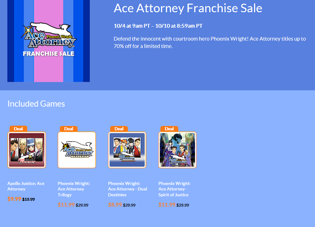 Ace Attorney Franchise Sale October 2018 Nintendo eShop Phoenix Wright Apollo Justice Trilogy Dual Destinies Spirit of Justice discount