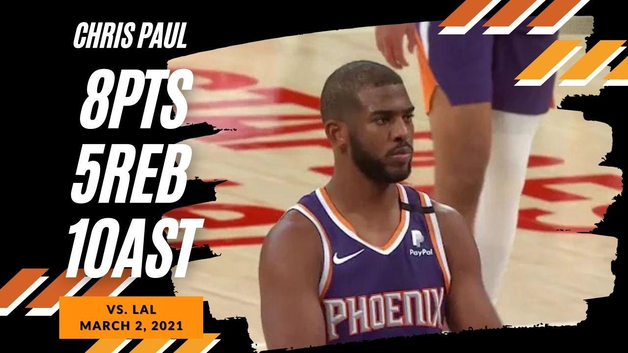 Chris Paul 8pts 5reb 10ast vs LAL   March 2, 2021   2020-21 NBA Season
